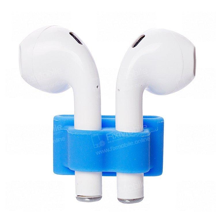 Держатель силиконовый для наушников Apple AirPods (синий)